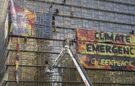 Green deal : une action de Greenpeace au sein du bâtiment du Conseil européen